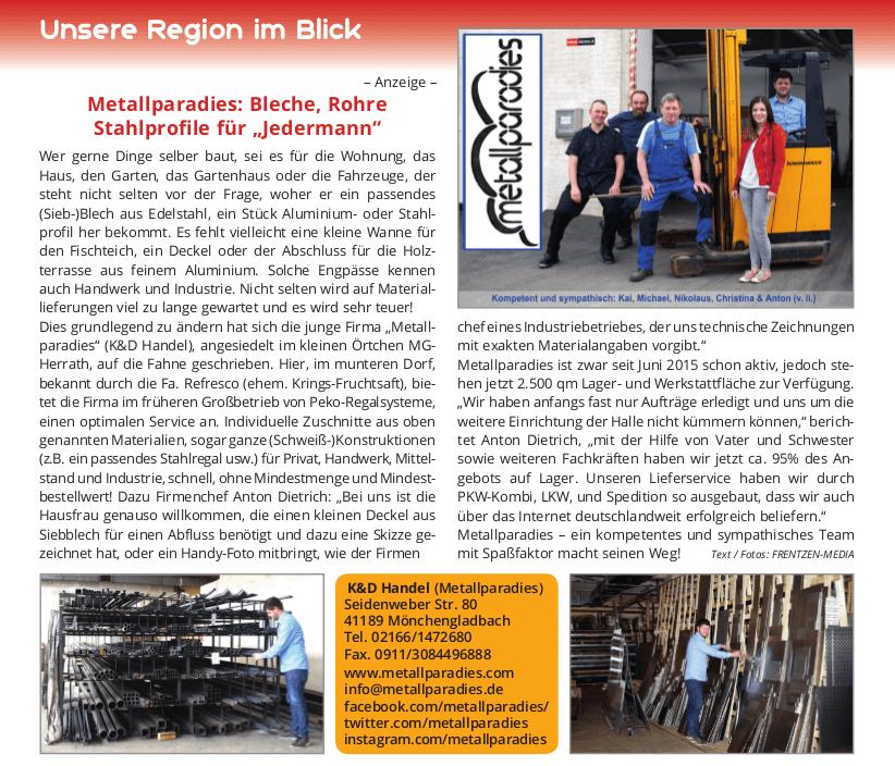 Artikel zur Firmenvorstellung - Metallparadies: Bleche, Rohre, Profile für Jedermann.